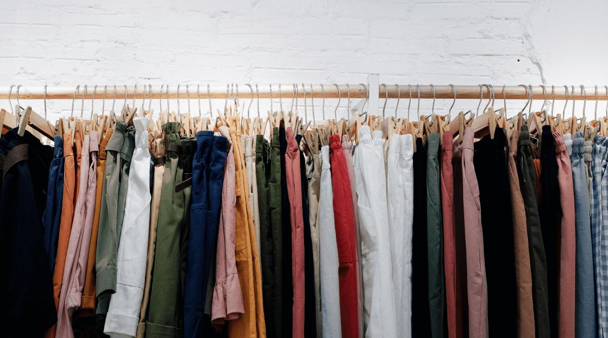 Rack of assorted bottoms on hangers