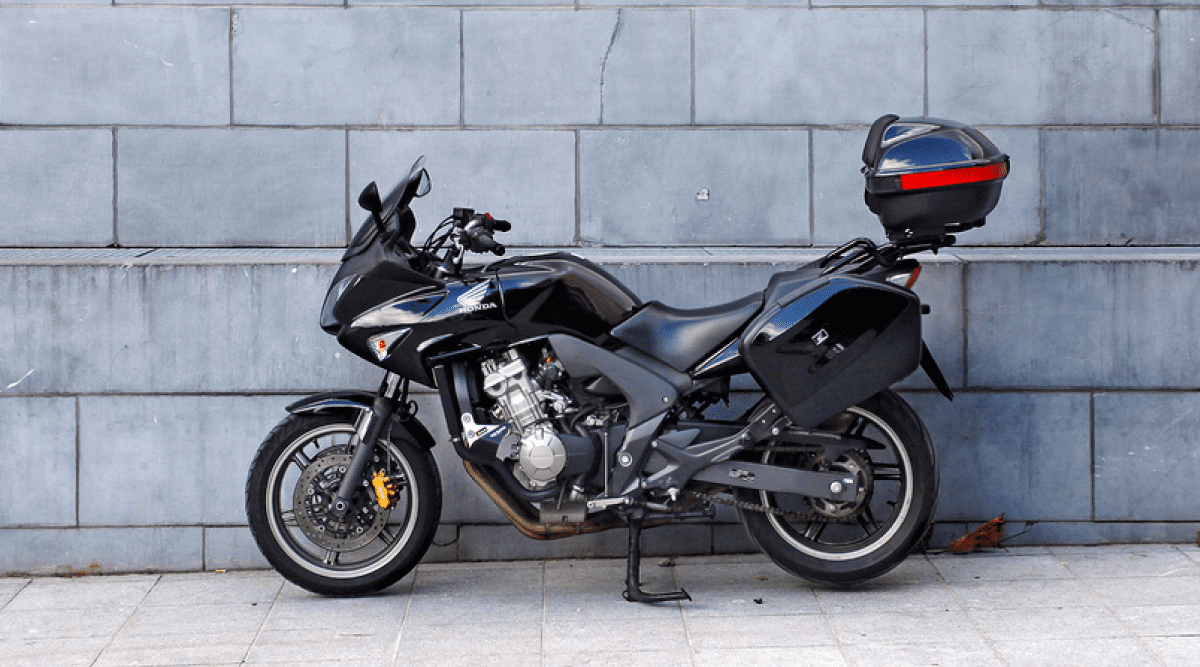 Black motorcycle parked