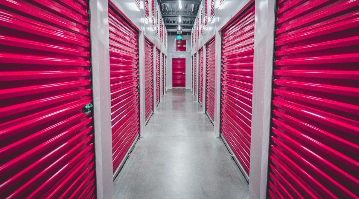 Indoor self-storage units in hallway