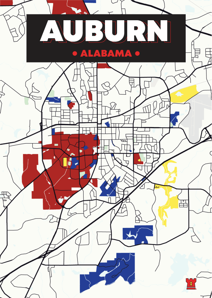 Auburn City Poster Best College Towns in America
